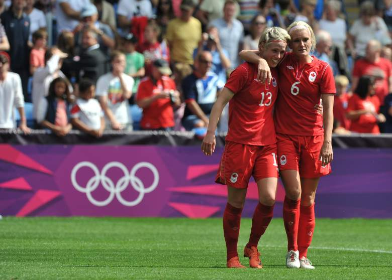Sophie Schmidt (L) and Kyle celebrate after Canada won bronze at the 2012 Summer Olympics in London. (Getty)