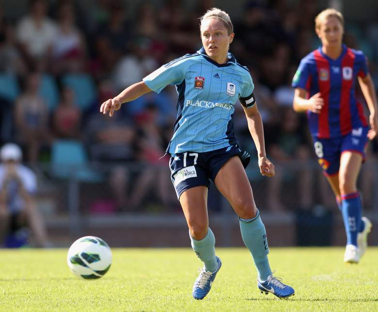 NEWCASTLE, AUSTRALIA - DECEMBER 23: Kyah Simon of Sydney in action during the round 10 W-League match between the Newcastle Jets and Sydney FC at Wanderers Oval on December 23, 2012 in Newcastle, Australia. (Photo by Tony Feder/Getty Images)