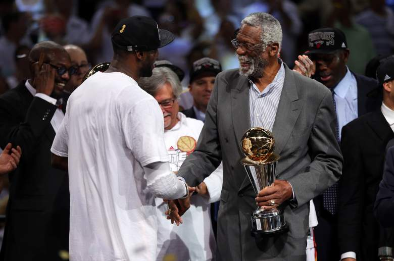 Bill Russell is experienced at handing the Finals MVP trophy to Lebron James. (Getty)