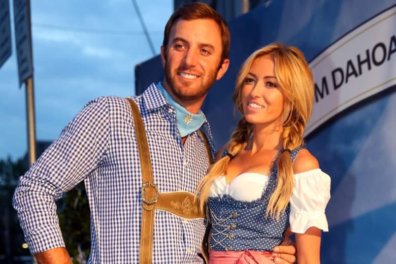 Dustin Johnson with fiancee Paulina Gretzky. (Getty)