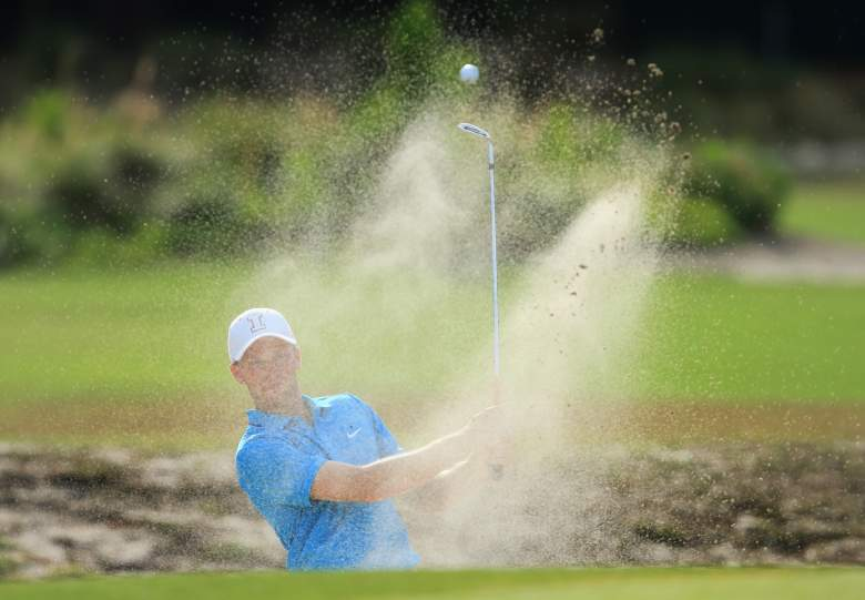 PINEHURST, NC - JUNE 13: Amateur Brian Campbell of the United States of the United States hits his second shot from a bunker on the third hole during the second round of the 114th U.S. Open at Pinehurst Resort & Country Club, Course No. 2 on June 13, 2014 in Pinehurst, North Carolina. (Photo by David Cannon/Getty Images)