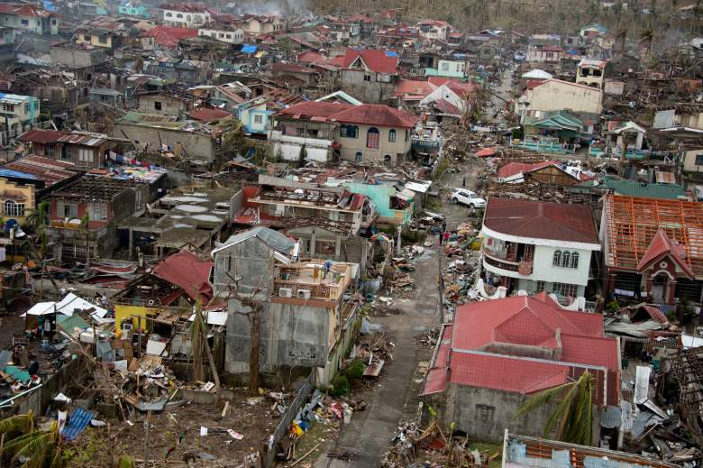 An aerial view shows damage to a neighborhood by Super Typhoon Haiyan in November 2013. (Getty)