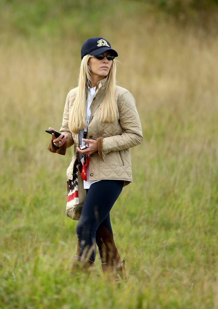 ASH, ENGLAND - OCTOBER 16:  Justine Reed, wife of Patrick Reed of the USA, watches on at the Volvo World Matchplay Championship at The London Club on October 16, 2014 in Ash, England.  (Photo by Richard Heathcote/Getty Images)