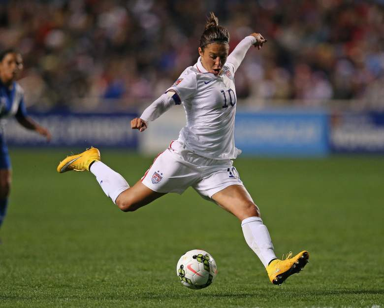 BRIDGEVIEW, IL - OCTOBER 17: Carli Lloyd #10 of the United States fires a shot against Guatemala during the 2014 CONCACAF Women's Championship at Toyota Park on October 17, 2014 in Bridgeview, Illinois. (Photo by Jonathan Daniel/Getty Images)