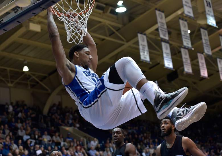 Okafor showing his hops while at Duke. (Getty)