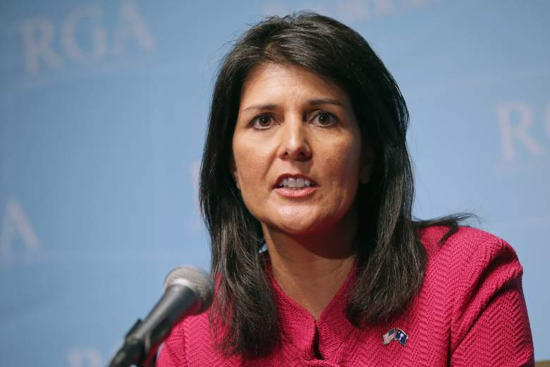WASHINGTON, DC - FEBRUARY 23:  South Carolina Governor Nikki Haley holds a news conference with fellow members of the Republican Governors Association at the U.S. Chamber of Commerce February 23, 2015 in Washington, DC. Republican and  Democratic governors met with U.S. President Barack Obama at the White House Monday during the last day of the National Governors Association winter meeting.  (Photo by Chip Somodevilla/Getty Images)