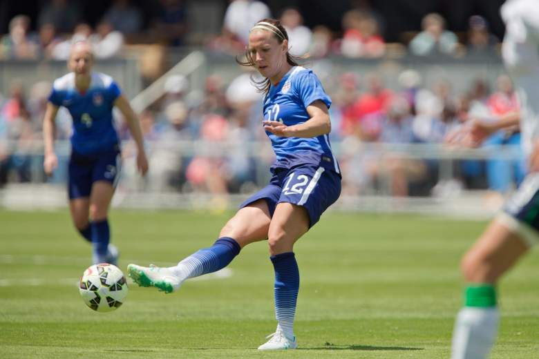 SAN JOSE, CA - MAY 10:  Lauren Holiday #12 of the United States passes the ball up against Ireland in the first half of their international friendly match on May 10, 2015 at Avaya Stadium in San Jose, California.  The U.S. won 3-0.  (Photo by Brian Bahr/Getty Images)
