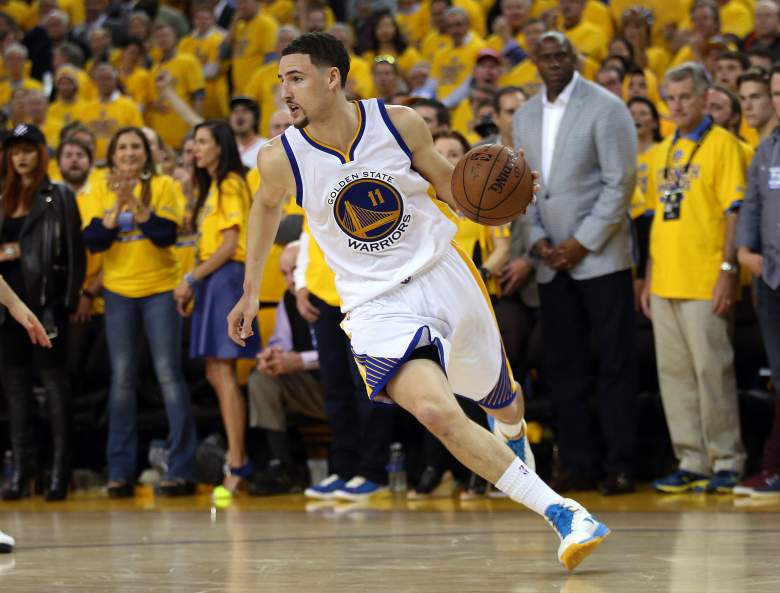 Klay Thompson and the Warriors host the Cavaliers in Game 2 on Sunday night. (Getty)