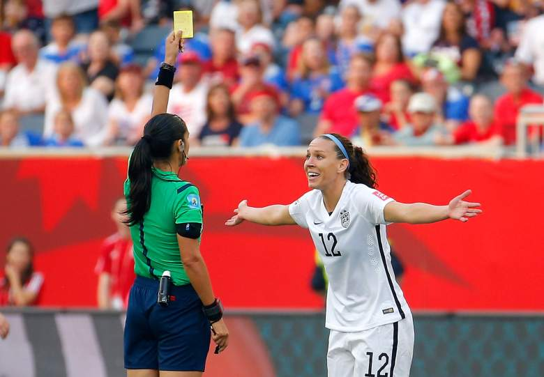 WINNIPEG, MB - JUNE 08:  Lauren Holiday #12 of United States receives a yellow card in the second half against Australia during the FIFA Women's World Cup 2015 Group D match at Winnipeg Stadium on June 8, 2015 in Winnipeg, Canada.  (Photo by Kevin C. Cox/Getty Images)