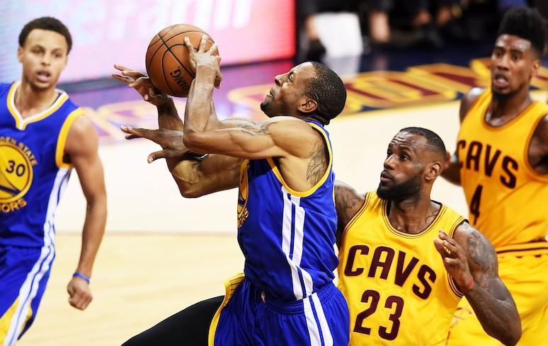 Andre Iguodala #9 of the Golden State Warriors goes up against LeBron James in the third quarter during Game Four of the 2015 NBA Finals. (Photo by Jason Miller/Getty Images)