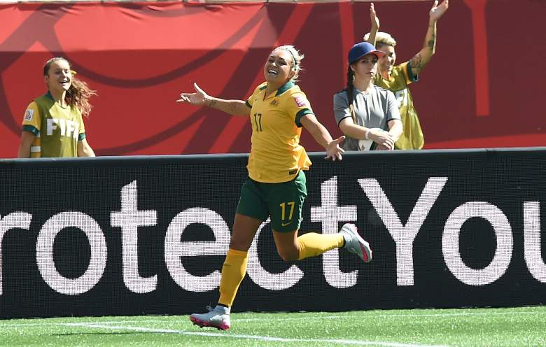 Australia's forward Kyah Simon celebrates after scoring a gaol against Nigeria during their Group D match of the 2015 FIFA Women's World Cup at the Winnipeg Stadium on June 12, 2015, in Winnipeg, Manitoba. AFP PHOTO/JEWEL SAMAD (Photo credit should read JEWEL SAMAD/AFP/Getty Images)