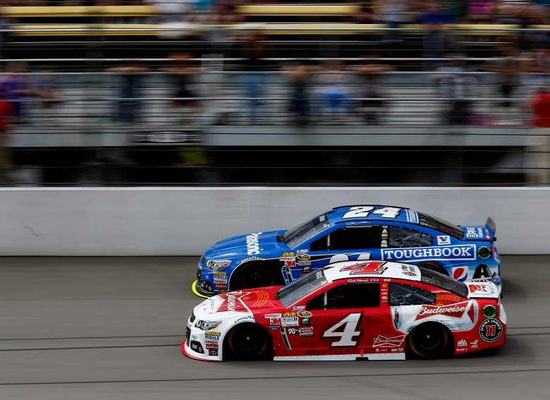 Kevin Harvick (4) and Jeff Gordon circle the track during Sunday's Quicken Loans 400. (Getty)