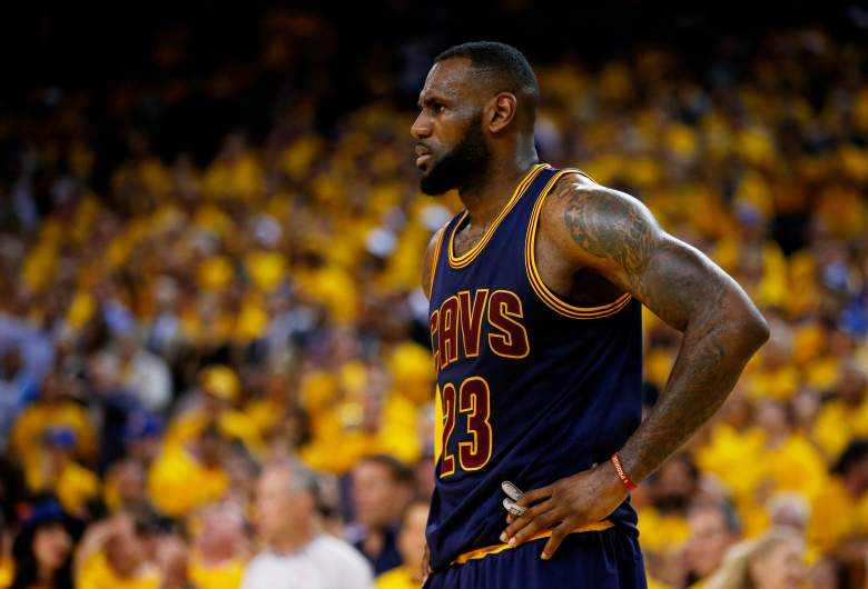 Lebron James looks on during the NBA Finals. (Getty)