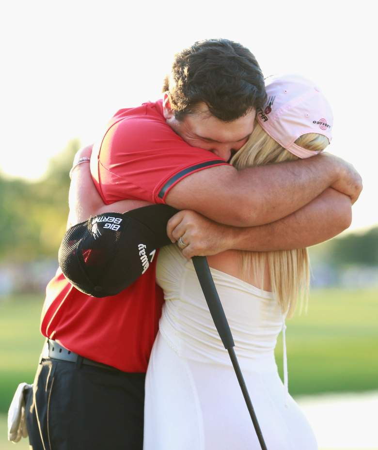 DORAL, FL - MARCH 09:  Patrick Reed celebrates with his wife Justine on the 18th green after his one-stroke victory during the final round of the World Golf Championships-Cadillac Championship at Trump National Doral on March 9, 2014 in Doral, Florida.  (Photo by Chris Trotman/Getty Images)