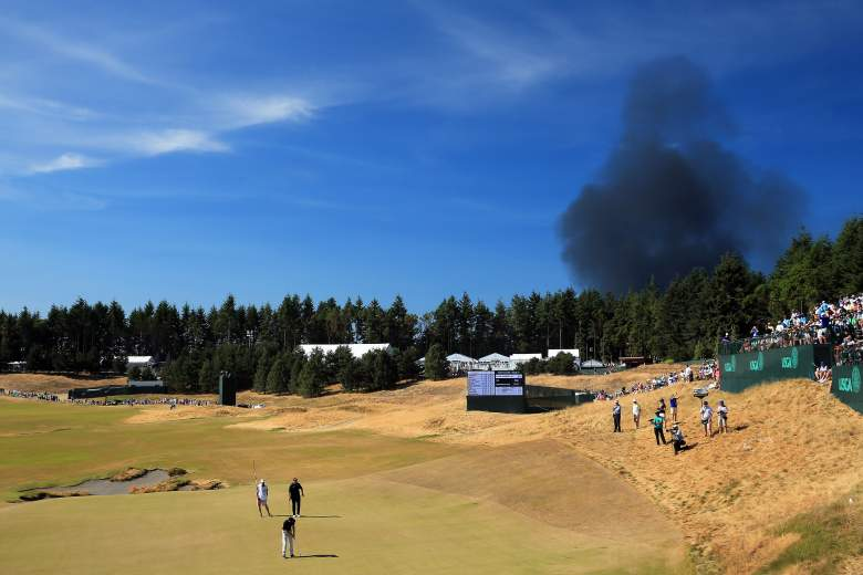 Smoke billows from a fire near Chambers Bay Golf Course. (Getty)