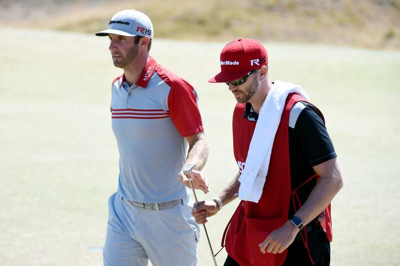 Dustin, left, with brother and caddie Austin Johnson. (Getty)