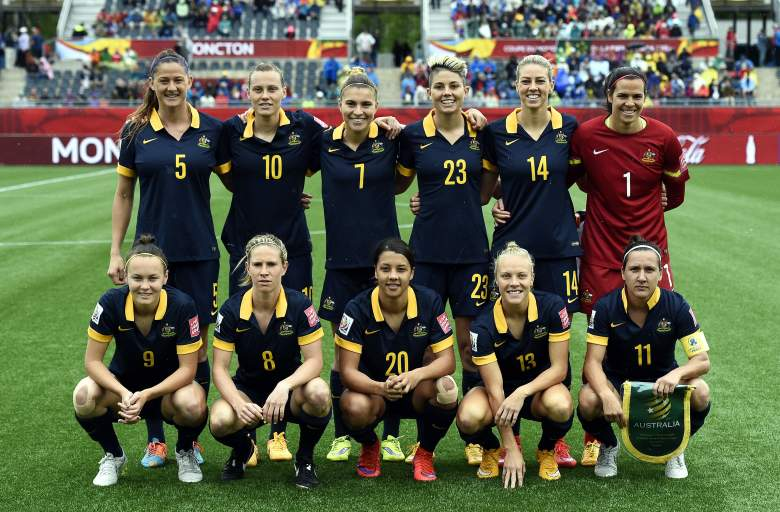 Top Row L-R: Australia's defender Laura Alleway, midfielder Emily Van Egmond, defender Steph Catley, forward Michelle Heyman and goalkeeper Lydia Williams. Bottom Row L-R: Forward Caitlin Foord, defender Elise Kellond-Knight, forward Samantha Kerr, midfielder Tameka Butt and forward Lisa De Vanna pose during the 2015 FIFA Women's World Cup round of 16 match between Brazil and Australia at Moncton Stadium, New Brunswick on June 21, 2015. AFP PHOTO / FRANCK FIFE (Photo credit should read FRANCK FIFE/AFP/Getty Images)
