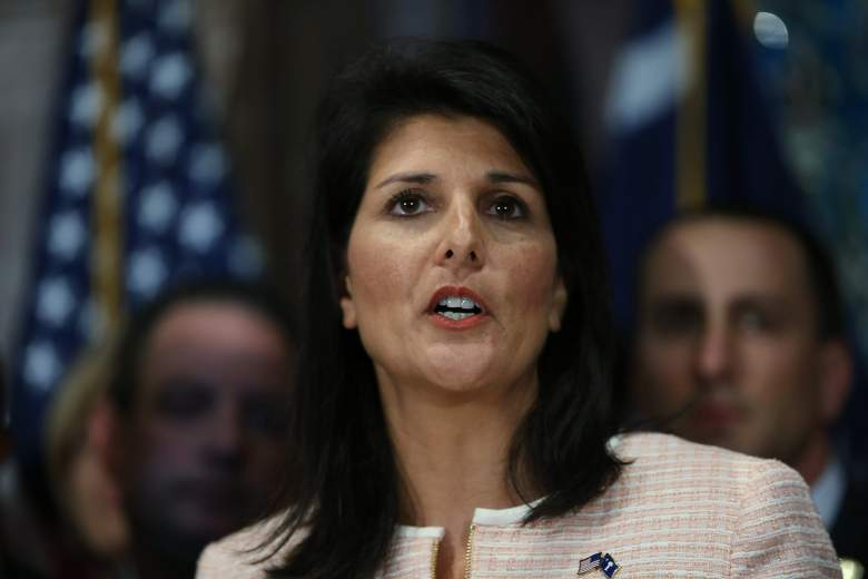 COLUMBIA, SC - JUNE 22:  South Carolina Gov. Nikki Haley speaks to the media as she asks that the Confederate flag be removed from the state capitol grounds on June 22, 2015 in Columbia, South Carolina. Debate over the flag flying on the capitol grounds was kicked off after nine people were shot and killed during a prayer meeting at the Emanuel African Methodist Episcopal Church in Charleston, South Carolina. (Photo by Joe Raedle/Getty Images)