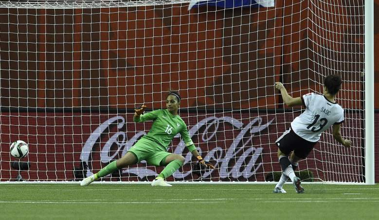Germany's forward Celia Sasic (R) scores a goal during the quarter-final football match between Germany and France in the 2015 FIFA Women's World Cup at the Olympic Stadium in Montreal, Quebec on June 26, 2015.  AFP PHOTO / FRANCK FIFE        (Photo credit should read FRANCK FIFE/AFP/Getty Images)