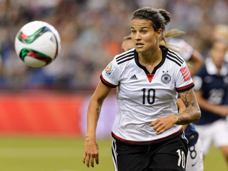 MONTREAL, QC - JUNE 26: Dzsenifer Marozsan #10 of Germany runs for the ball during the 2015 FIFA Women's World Cup quarter final match against France at Olympic Stadium on June 26, 2015 in Montreal, Quebec, Canada. Germany defeated France 5-4 on penalty kicks and move to the semifinal round. (Photo by Minas Panagiotakis/Getty Images)