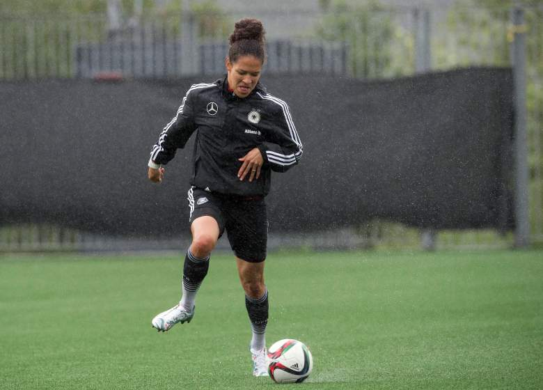 Germany's Celia Sasic takes part in a training session in Montreal, Quebec on June 28, 2015 two days before a 2015 FIFA Women's World Cup semifinal match against the USA.    AFP PHOTO/NICHOLAS KAMM        (Photo credit should read NICHOLAS KAMM/AFP/Getty Images)