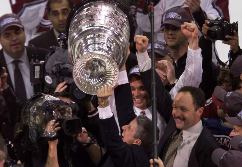 9 Jun 2001: Coach Bob Hartley of the Colorado Avalanche celebrates defeating the New Jersey Devils to win the Stanley Cup finals at the Pepsi Center in Denver, Colorado. The Avalanche defeated the Devils 3-1 to win the series 4-3. DIGITAL IMAGE Mandatory Credit: Brian Bahr/ALLSPORT