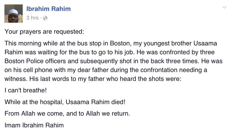 Ibrahim Rahim Facebook post
