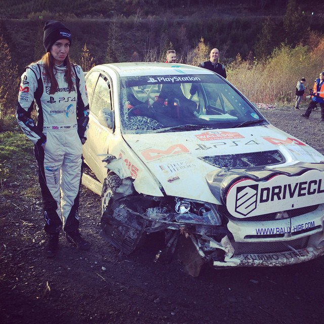 Despite the crash, she went on to complete the GB Wales Rally to finish 47th (Instagram)