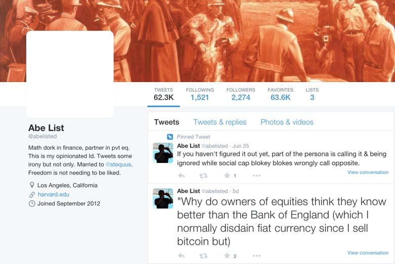 Abe List Twitter page.