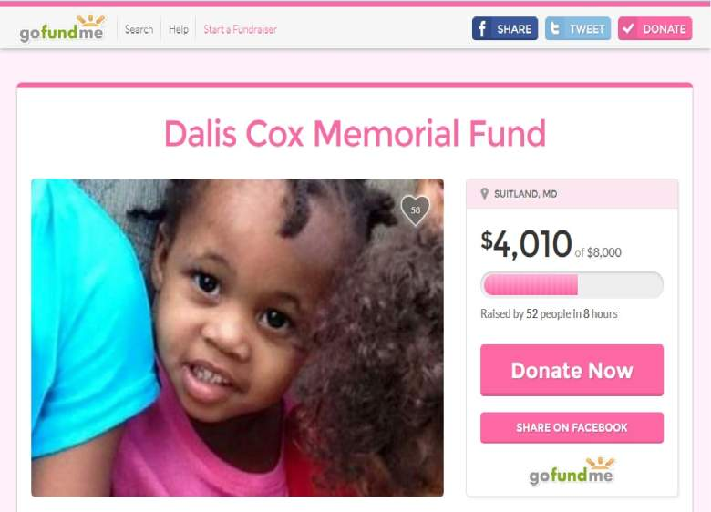 Screenshot of Dalis Cox Memorial Fund GoFundMe page.