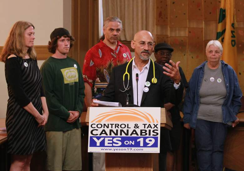 Surrounded by medical marijuana patients, medical marijuana activist Dr. Frank Lucido (3R) speaks during a news conference to bring attention to California State Proposition 19, a measure to legalize marijuana in California on October 12, 2010 in Oakland, California. (Getty Images)