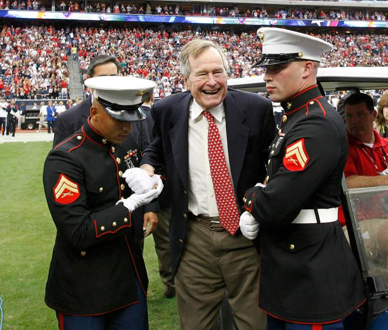 HOUSTON - NOVEMBER 06:  Former President George H.W. Bush at the Houston Texans game at Reliant Stadium (Getty)