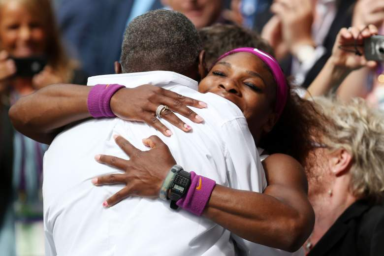 LONDON, ENGLAND - JULY 07:  Serena Williams (R) of the USA celebrates with her father Richard Williams after her Ladies? Singles final match against Agnieszka Radwanska of Poland on day twelve of the Wimbledon Lawn Tennis Championships at the All England Lawn Tennis and Croquet Club on July 7, 2012 in London, England.  (Photo by Clive Rose/Getty Images)