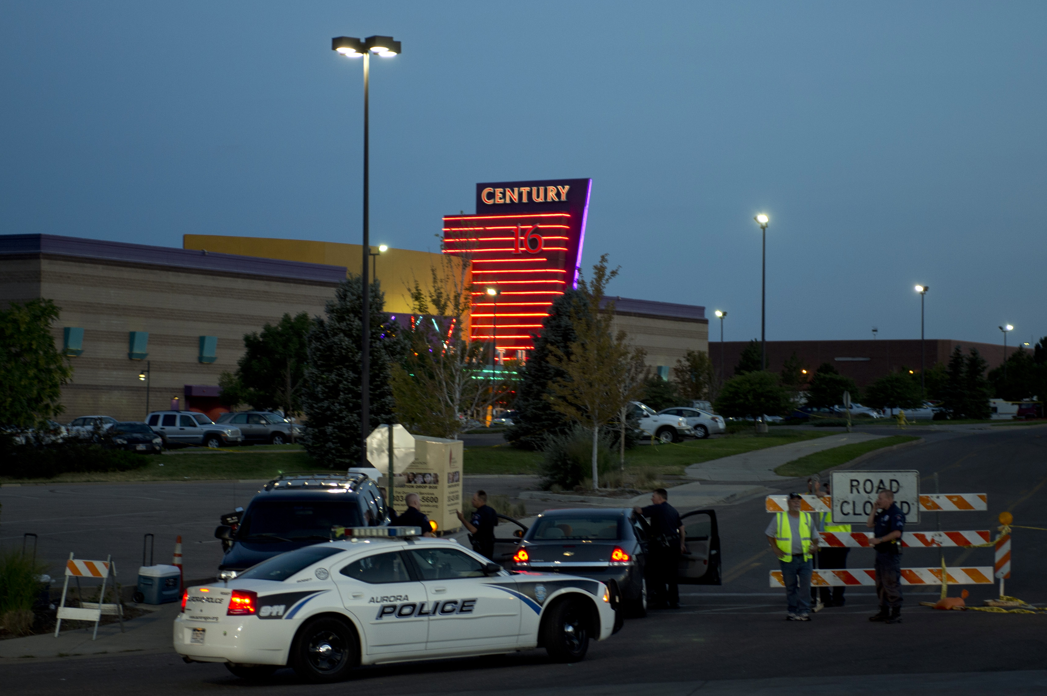 The scene outside the shooting at a movie theater in Aurora, Colorado, on July 23, 2012. (Getty)