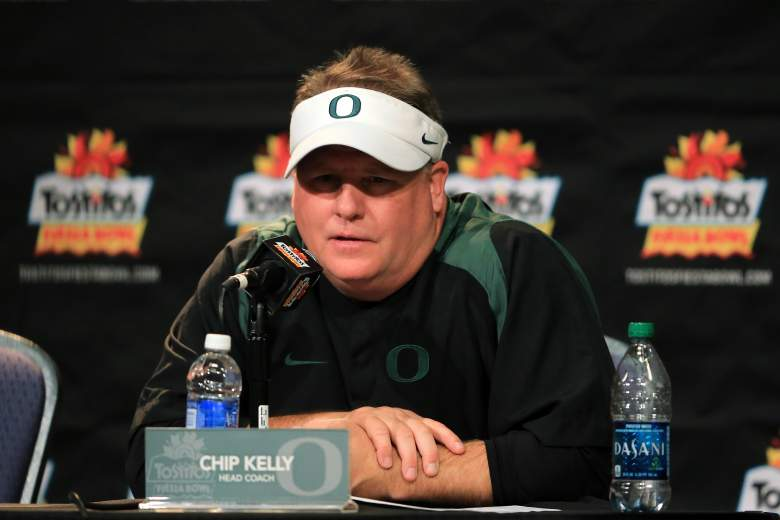 GLENDALE, AZ - JANUARY 03:  Head coach Chip Kelly of the Oregon Ducks participates in a post-game press conference after they defeated the Kansas State Wildcats 35 to 17 in the Tostitos Fiesta Bowl at University of Phoenix Stadium on January 3, 2013 in Glendale, Arizona.  (Photo by Doug Pensinger/Getty Images)