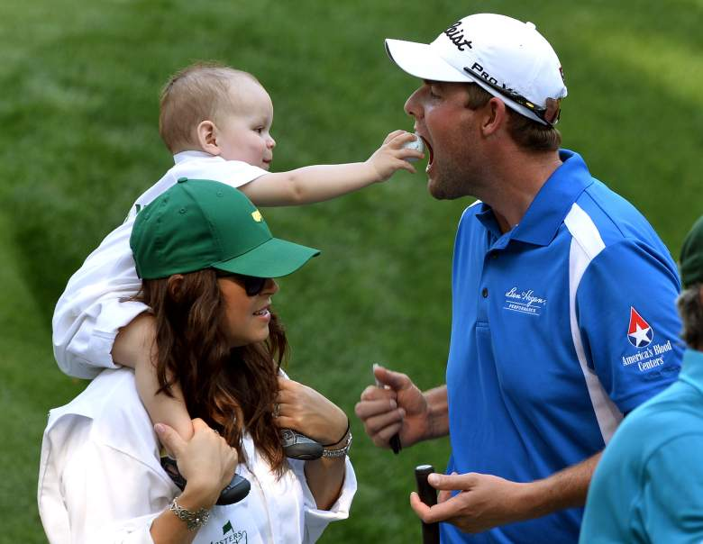 Marc Leishman of Australia with his wife Audrey and son Harvey during the Par 3 Contest held the day before the start of the 77th Masters golf tournament at Augusta National Golf Club on April 10, 2013 in Augusta, Georgia.    AFP PHOTO / JEWEL SAMAD        (Photo credit should read JEWEL SAMAD/AFP/Getty Images)