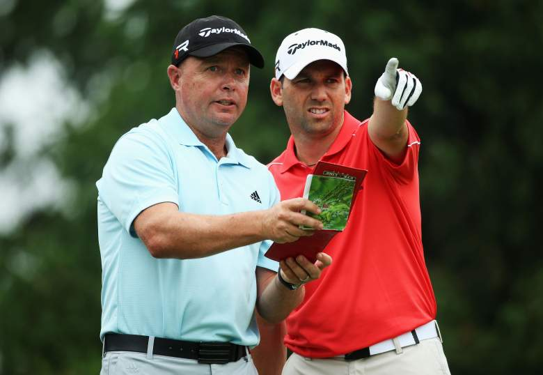 ARDMORE, PA - JUNE 10:  Sergio Garcia (R) of Spain talks with caddie Greg Hearmon (L) during a practice round prior to the start of the 113th U.S. Open at at Merion Golf Club on June 10, 2013 in Ardmore, Pennsylvania.  (Photo by Andrew Redington/Getty Images)