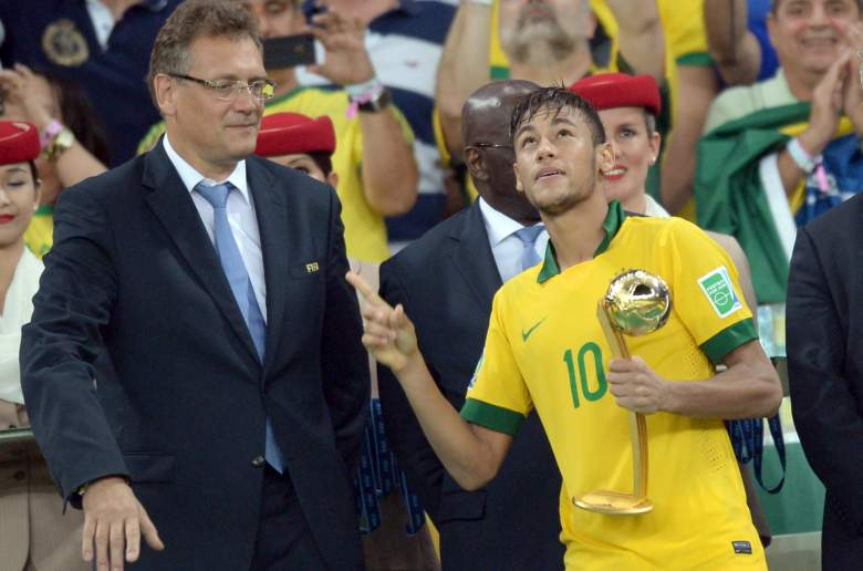 Neymar celebrates the 2013 Confederations Cup for Brazil. (Getty)