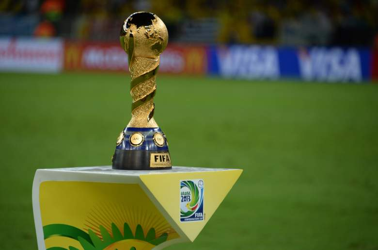 The Confederations Cup trophy on display in Brazil. (Getty)