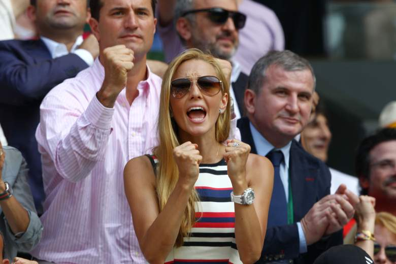 LONDON, ENGLAND - JULY 07: Jelena Ristic, the girlfriend of Novak Djokovic of Serbia cheers during his Gentlemen's Singles Final match against Andy Murray of Great Britain on day thirteen of the Wimbledon Lawn Tennis Championships at the All England Lawn Tennis and Croquet Club on July 7, 2013 in London, England. (Photo by Clive Brunskill/Getty Images)