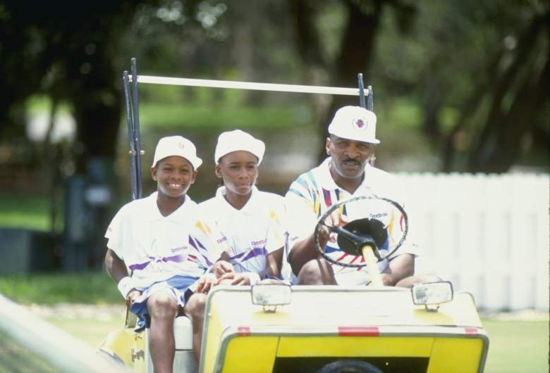 1992:  Serena Williams and her sister Venus Williams ride with their father Richard Williams at a tennis camp in Florida. Mandatory Credit: Ken Levine  /Allsport