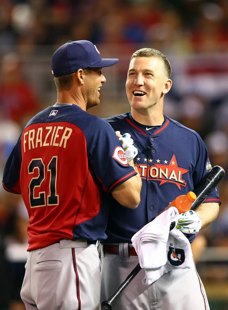 MINNEAPOLIS, MN - JULY 14: National League All-Star Todd Frazier #21 of the Cincinnati Reds reacts with his brother Charlie during the Gillette Home Run Derby at Target Field on July 14, 2014 in Minneapolis, Minnesota. (Photo by Elsa/Getty Images)