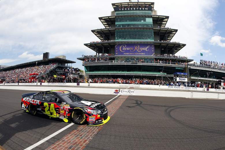 Jeff Gordon takes the checkered flag in last year's Brickyard 400. (Getty)