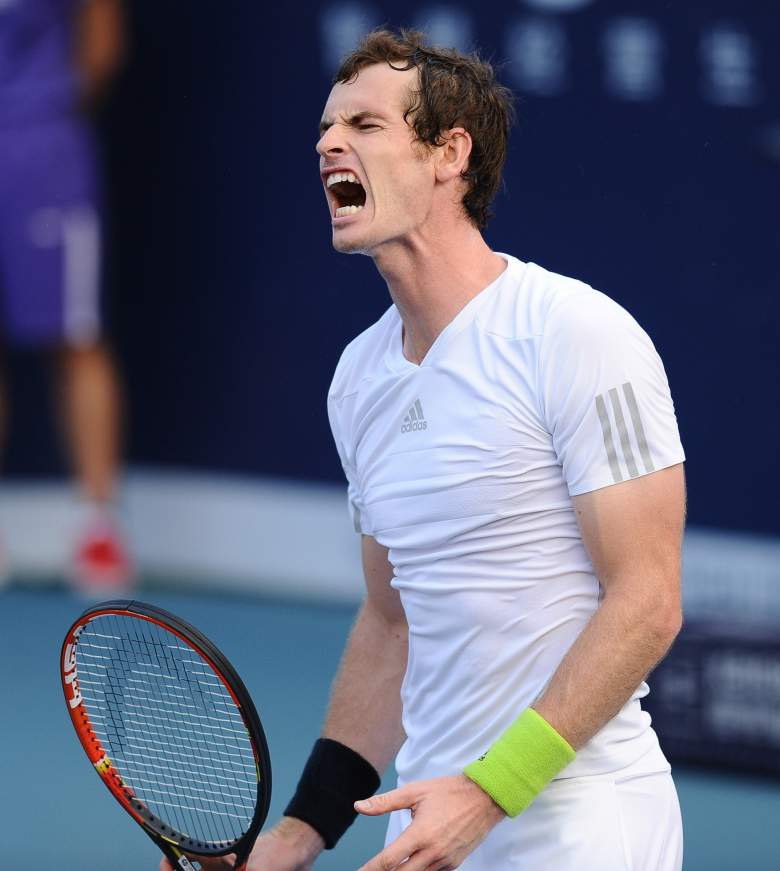 Andy Murray of Britain reacts during the final match at the inaugural ATP Shenzhen Open in Shenzhen, southern China's Guangdong province on September 28, 2014.  Andy Murray has won his first title since his historic Wimbledon victory in 2013, surviving a scare to beat Tommy Robredo of Spain in three sets at the inaugural ATP Shenzhen Open.         CHINA OUT              AFP PHOTO        (Photo credit should read STR/AFP/Getty Images)