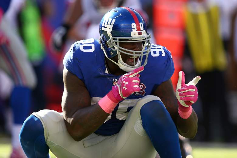 EAST RUTHERFORD, NJ - OCTOBER 05:  Defensive end Jason Pierre-Paul #90 of the New York Giants reacts after a play in the fourth quarter against the Atlanta Falcons during their game at MetLife Stadium on October 5, 2014 in East Rutherford, New Jersey.  (Photo by Elsa/Getty Images)