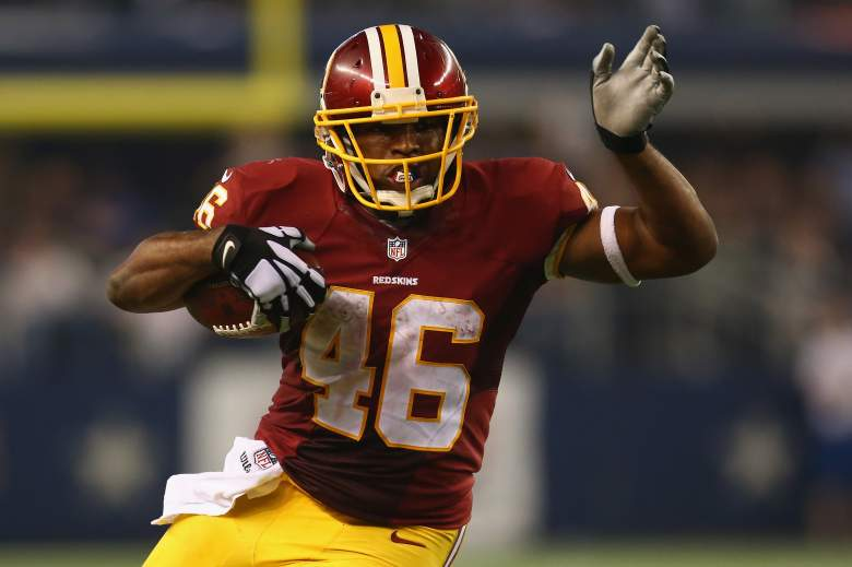 ARLINGTON, TX - OCTOBER 27:  Alfred Morris #46 of the Washington Redskins runs the ball against the Dallas Cowboys at AT&T Stadium on October 27, 2014 in Arlington, Texas.  (Photo by Ronald Martinez/Getty Images)