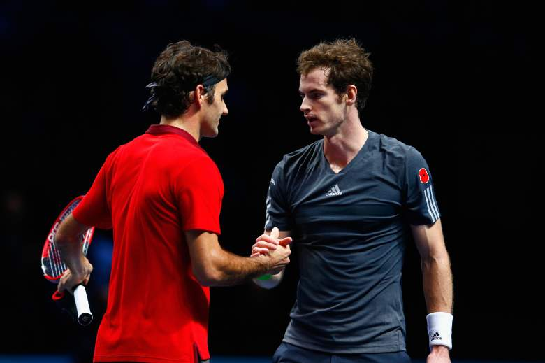 LONDON, ENGLAND - NOVEMBER 13:  Andy Murray of Great Britain congratulates Roger Federer of Switzerland after the round robin singles match  on day five of the Barclays ATP World Tour Finals at O2 Arena on November 13, 2014 in London, England.  (Photo by Julian Finney/Getty Images)