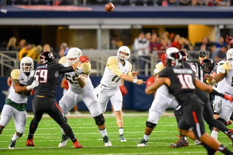 ARLINGTON, TX - NOVEMBER 29: Seth Russell #17 of the Baylor Bears delivers a pass during the game against the Texas Tech Red Raiders on November 29, 2014 at AT&T Stadium in Arlington, Texas. Baylor won the game 48-46.(Photo by John Weast/Getty Images)