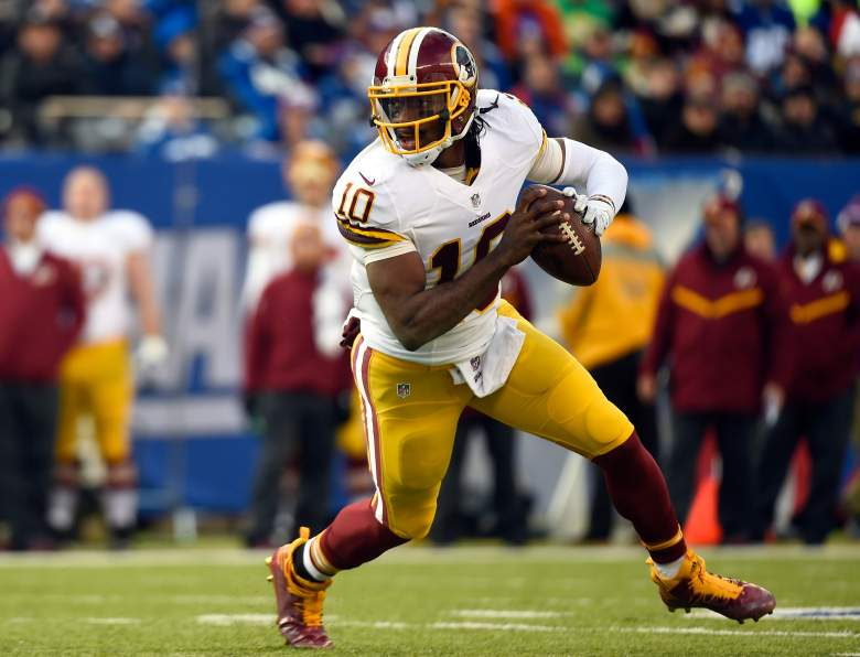 EAST RUTHERFORD, NJ - DECEMBER 14:  Robert Griffin III #10 of the Washington Redskins in action against the New York Giants during their game at MetLife Stadium on December 14, 2014 in East Rutherford, New Jersey.  (Photo by Alex Goodlett/Getty Images)
