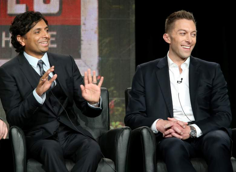 PASADENA, CA - JANUARY 17:  (L-R) Executive Producer/Director M. Night Shyamalan and Executive Producer Chad Hodge speak onstage during the 'Wayward Pines' panel discussion at the FOX portion of the 2015 Winter TCA Tour at the Langham Hotel on January 17, 2015 in Pasadena, California.  (Photo by Frederick M. Brown/Getty Images)
